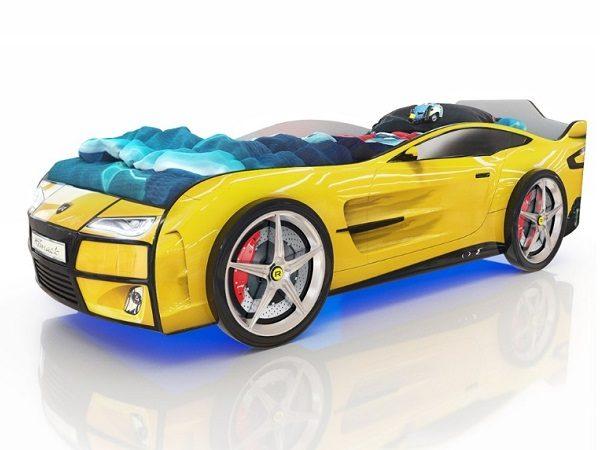 Кровать-машина Kiddy Желтая