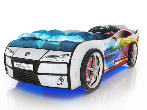 Кровать-машина Kiddy Белая - Стрелы