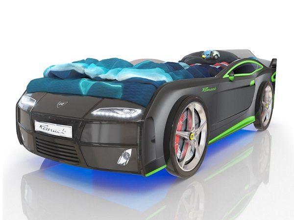 Кровать-машина Kiddy тёмно-серая