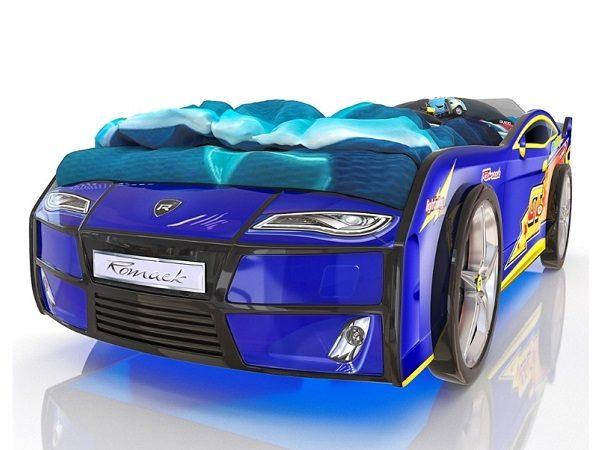 Кровать-машина Kiddy Синяя Молния