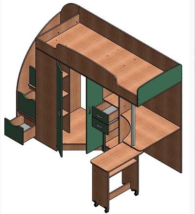 Кровать-чердак Теремок-1 Гранд
