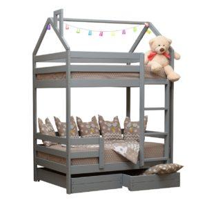 2-ярусная кровать домик