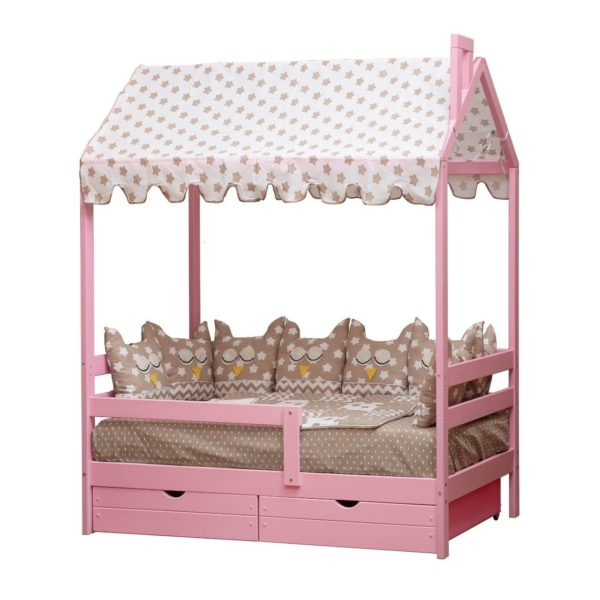Деревянная кровать-домик Березка